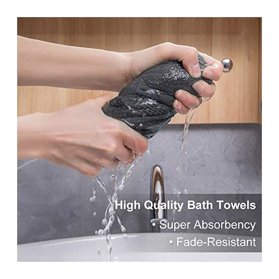 Wonwo 100% Cotton Bath Towels, 600 GSM Luxury 6 Piece Set - 2 Bath Towels, 2 Hand Towels, and 2 Washcloths - Gray - VALUABLE PACK & SUITABLE SIZE--Wonwo bath towel set comes with a convenient 6-piece set for home travel and fitness use. Provides users with all basic bathroom drying needs in one convenient bundle. It includes two bath towels (27x55 inches), two hand towels (13x28 inches), and two wash cloths (13x13 inches) appropriate for all ages. 100% COTTON--Towels are made of high quality natural cotton and have high absorbency. Enjoy the ultimate smooth experience and soft touch. Perfect for babies. The breathable plush is easier to dry. It's safe to use. COMFORTABLE & DURABLE--The bath towel set is 600 GSM, which makes them thicker, stronger, extra absorbent, and more comfortable than others. These towels are elegantly woven to produce an exquisite, high quality, and durable material. Double stitching on all hems insures extra durability. - bathroom-linens, bathroom, bath-towels - 51QXDAOIemL. SS570  -