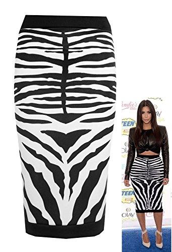 Forever Womens Celebrity Inspired Zebra Print Midi Pencil Skirt (10, Black) by Forever (Image #3)