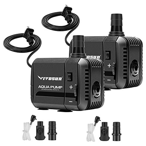 VIVOSUN 2-Pack 210GPH Submersible Pump(800L/H, 8W), Ultra Quiet Water Pump with 3.3ft High Lift, Fountain Pump with 5ft Power Cord, 2 Nozzles for Fish Tank, Pond, Aquarium, Statuary, Hydroponics