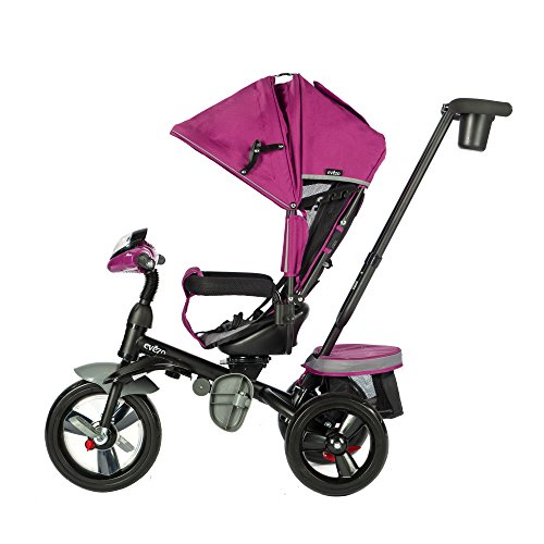 Evezo 302A 4-in-1 Parent Push Tricycle for Kids, Stroller Trike Convertible, Swivel Seat, Reclining Seat, 5-Point Safety Harness, Full Canopy, LED Headlight, Storage Bin (Burgundy Pink)