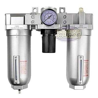 "1"" Compressed Air Moisture Filter Regulator Oiler Separator Lubricator Combo HD"
