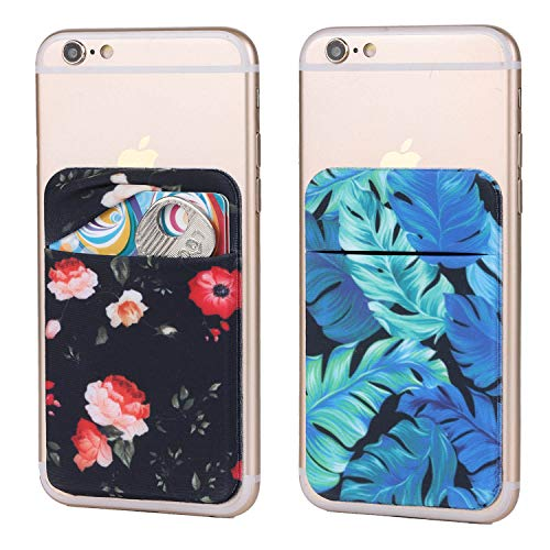 - 2Pack Adhesive Phone Pocket,Cell Phone Stick On Card Wallet Sleeve,Credit Cards/ID Card Holder(Double Secure) with 3M Sticker for Back of iPhone,Android and All Smartphones (Rose Floral&Palm Leave)