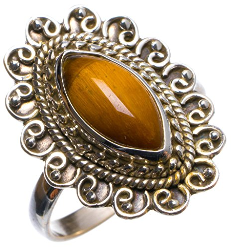 StarGems(tm) Natural Tiger Eye Handmade Unique 925 Sterling Silver Ring, US size 8.75 X2875