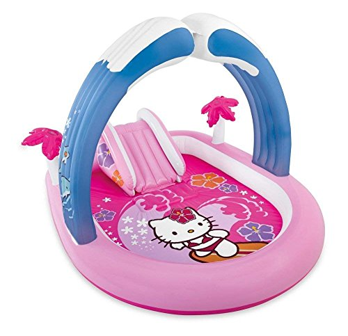 (Kids Inflatable Pool Play Center with Slide. This Kiddie Blow Up Above Ground Swimming Pool is Great for Toddlers, Children to Have Outdoor Water Fun with Toys and Floats. Hello Kitty Baby Swim.)