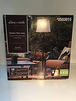 allen + roth Cadenby 56.0-in Bronze Solar 3-Way Floor Lamp with Fabric Shade