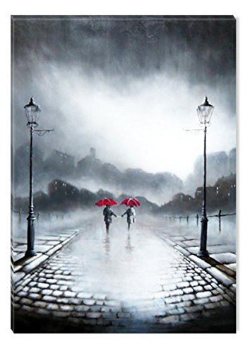 Inspirational Art Black and White Two Red Umbrellas Canvas Wall Art Abstract Picture Eco Light Framed Ready to Hang Artwork for Home Decoration