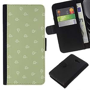 WINCASE Cuadro Funda Voltear Cuero Ranura Tarjetas TPU Carcasas Protectora Cover Case Para Sony Xperia M2 - patrón de forma de oliva fondo de pantalla