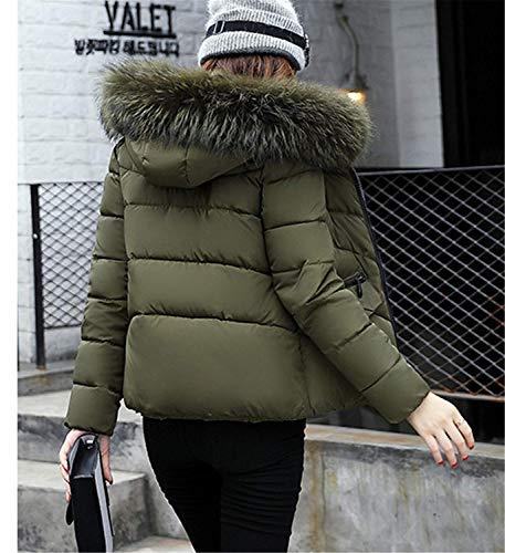 Élégant Mode Outerwear Chic Grün Éclair Poches A Femme Manche Manteau Avec Chaud Jeune Hiver Capuche Courte Manches Fermeture Avant Doudoune Battercake Uni Veste Longues 6ZxqBwnaBg