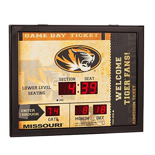 Team Sports America NCAA Bluetooth Scoreboard Wall Clock, Missouri Tigers ()