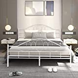Giantex Metal Bed Frame Platform Mattress Foundation with Wood Slats Support Headboard Footboard Bedroom Furniture Queen Size(White)
