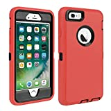 iPhone 6/6S Case Shockproof High Impact Tough Rubber Rugged Hybrid Case Silicone Triple Protective Anti-Shock Shatter-Resistant Mobile Phone Case for iPhone 6/6S 4.7'' (red Black)