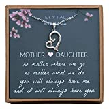 EFYTAL Mothers Day Mom Gifts, 925 Sterling Silver Sideways Heart Necklace for Mother & Daughter, Necklaces for Women, Best Birthday Gift Ideas, Pendant Mother's Jewelry For Her