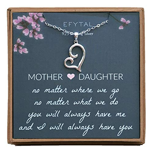 EFYTAL Mom Gifts, 925 Sterling Silver Sideways Heart Necklace for Mother & Daughter, Necklaces for Women, Best Birthday Gift Ideas, Pendant Mother's Jewelry For Her, Mothers Day