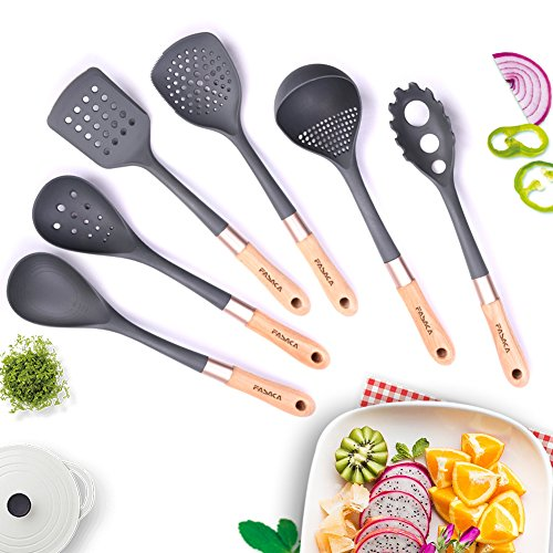 FASAKA Cooking Utensils Set Wood Handle - 6 PCS Nylon Kitchen Tool Sets for Nonstick Cookware - Spaghetti Server ,Slotted Spoon , Spatula-turner ,Slotted Spatula-turner , Spoon and Half-spatula - Kitchen Nylon Tool