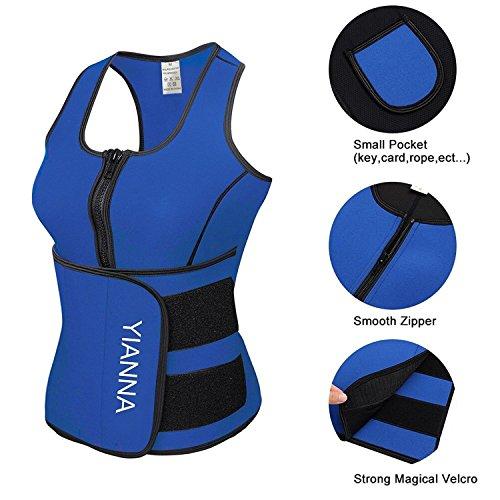 YIANNA Sweat Neoprene Sauna Suit Tank Top Vest with Adjustable Shaper Waist Trainer Belt