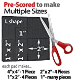 "SlipToGrip Furniture Gripper - Stops Slide - Multi Size (4 Pads) - Make 4"" , 1"", 2"", etc.- Pre-Scored Multiple Sizes - 3/8"" Felt Core - Anti Slip Rubber - No nails, No glue. Patent Pending"