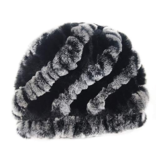 CapsA Thick Warm Winter Beanie Hat for Women Soft Stretch Slouchy Skull Knit Cap Handmade Warm Caps Female Headgear Rex Rabbit Fur hat (Rex Rabbit Hat)