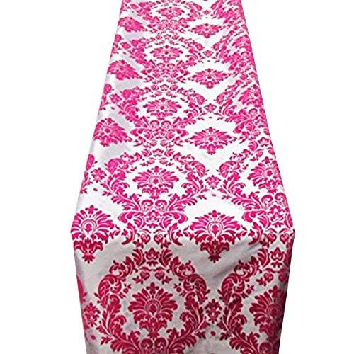 Damask Shower Bridal Pink (lovemyfabric Taffeta Flocking Damask Table Runners Wedding, Bridal Shower/Baby Shower, Dinner, Special Events/Graduation Home Decor (12