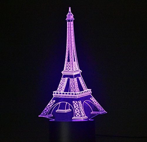 Cheap WEIYIKANG 3D Light Illusion Desk Light Table Lamp Smart Home Night Lights 7 Colors Change (Eiffel Tower)