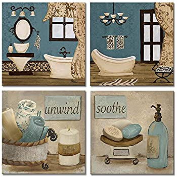 Amazon.com: VIIVEI Bathroom Canvas Wall Art Prints Framed ...