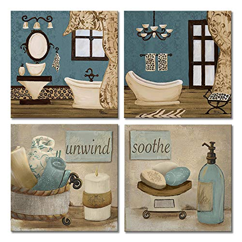 VIIVEI Bathroom Canvas Wall Art Prints Framed Ready to Hang Teal Blue Wall Decor Vintage Paintings Posters Great Gift Home Artwork (12x12, 09 Bathroom Decor)