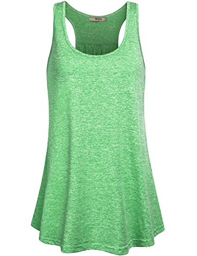 Miusey Gym Clothes For Women Ladies Sleeveless Exercise Athletic Swing Activity Crew Neck Basic Comfortable Lightweight Workout Racerback Tank Tops Green M (Basic Activity)