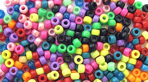 Linpeng Translucent Plastic Assorted Colors 1 LB 6x9mm Pony Beads 1LB ()