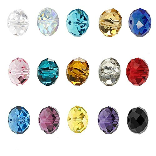 (Wholesale Mix Lots 300pcs 6x8mm #5040 Faceted Rondelle Shape Crystal glass Beads bbS3)