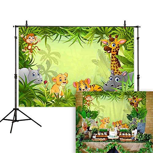 Allenjoy 7x5ft Zoo Backdrops Cartoon Safari Animals Backdrop Happy Birthday Photography Background Fauna Jungle Wildlife Zoo Themed Party Decoration Photo Studio Props -