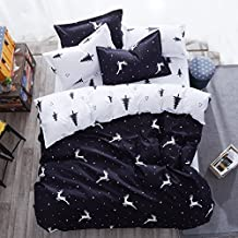 4pcs Bedding Set Duvet Cover Set Combed Cotton One Duvet Cover Without Comforter One Flat Bedsheet Two Pillowcases KY Twin Full Queen Elk Deer Flower Design (Twin, Elk Deer, White)