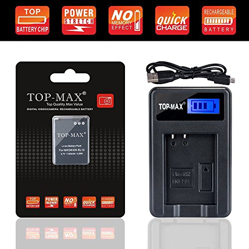 TOP-MAX USB Charger + EN-EL12 ENEL12 Battery for Nikon KeyMission 170 360, Coolpix W300, A900, AW100, AW110, AW120, AW130, S8100, S8200, S9050, S9200, S9300, S9400, S9500, S9700, S9900,P310, P330,P340 by TOP-MAX