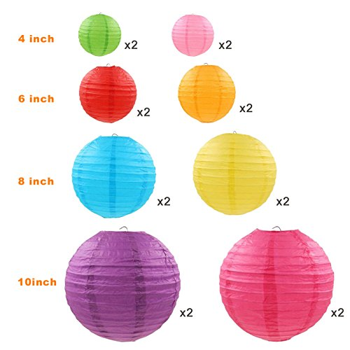 """LURICO 16 Pcs Colorful Paper Lanterns (Multicolor,Size of 4"""", 6"""", 8"""", 10"""") - Chinese/Japanese Paper Hanging Decorations Ball Lanterns Lamps for Home Decor, Parties, and Weddings by LURICO (Image #2)"""