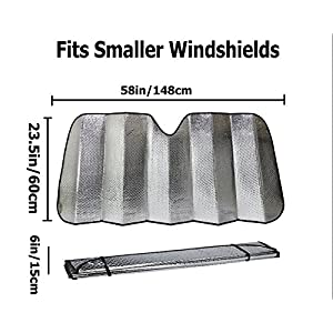 Car Front Windshield Sun shade - Accordion Folding Double Layer Bubble Silvering Reflective Sunshade for Car - Suction cups included-Two Sizes- 51 x 23.5 Inch (SMALL)