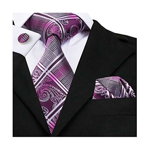 Silk Mens Cufflinks - Barry.Wang Mens Tie Set Paisley Check Tie Hanky Cufflinks Silk Purple