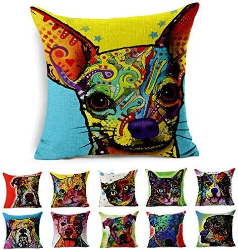 Fashion cap Cotton Linen Canvas Decorative Square Throw Pillow Cover Pack of 1 for 18 x 18 Pillow Inserts in Sofa Home Car Couch (Chihuahua Dog Style 7): Amazon.es: Hogar