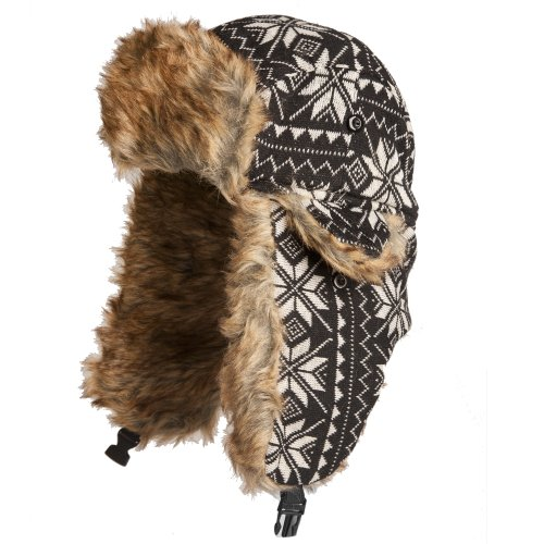 Accessoryo Men's Knitted and Fair isle Style Trapper Hat with Faux Fur Lining 60cm Black