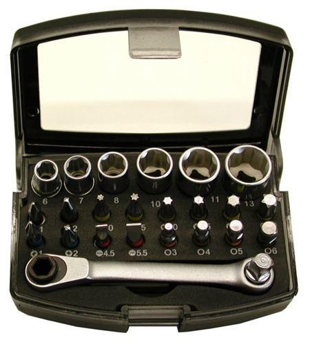 Bit Box mit Stecknüssen und Ratsche, 25 Teile,  extrem Kompakt Bitbox mit Gürtelclip