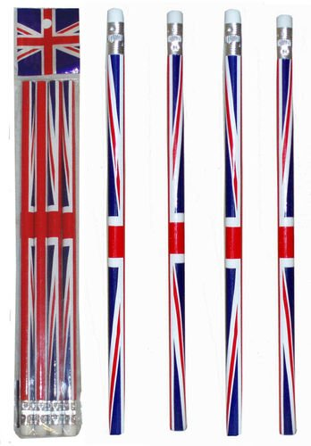 I Love London Souvenir / 5 UNION JACK FLAG PENCILS / ENGLAND BRITAIN LONDON SOUVENIR