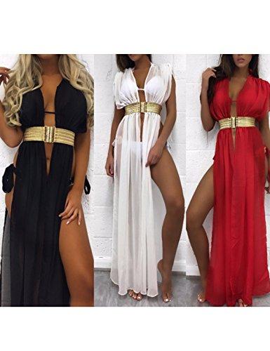 Cxins Sans Manches Sexy Fendue V-long Cou Bikini Plage Féminin Partie Fendit Couvrir Robe Avec Ceinture Blanche