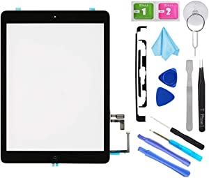 T Phael Black Digitizer Repair Kit for iPad 5 A1474 A1475 A1476,iPad5 iPad Air 1st Touch Screen Digitizer Replacement Assembly -Inc Home Button +Camera Holder+ Pre-Installed Adhesive +Tools Kit