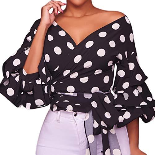 YANG-YI Clearance, HOT Women Long Puff Sleeve V-Neck Polka Dot Ruched Blouse Shirt with Belt (Belt Linen Silk)