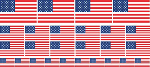 Mini Sticker Pack smooth - 4x 51x31mm+ 12x 33x20mm + 10x 20x12mm- Self-Stick - USA - United States - Self-Adhesive - Flag Decals - for Car, Office and Home - Set of 26