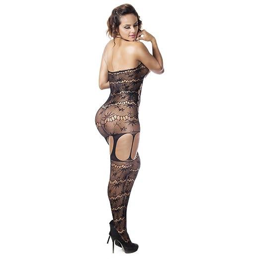 d98b688b85 Amazon.com  Women Sexy Lingerie Daoroka Ladies Open Crotch Halter Fishnet  Babydoll Bodystocking See-through Pajama Sleepwear (Freee