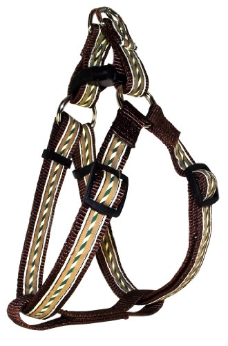 Brown Harness Stripes Dog - Hamilton SHA RO LG STBR Outdoorsman Collection Stripe on Brown Pattern Adjustable Easy On Dog Harness, 1 by 30 to 40-Inch