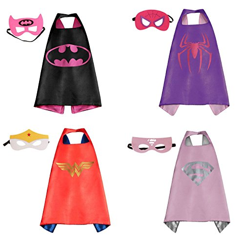RioRand Comics Cartoon Dress Up Costumes Satin Capes with Felt Masks for girls (Set of 4) (Superheroes Outfit)