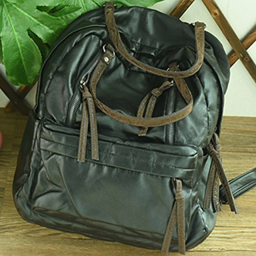 BAGEHUA ソフトの Pu ショルダーウォッシュバッグ、若い女の子の芸術的な色、新鮮で、小型のバックパックは、女性学生のブックバッグ潮 B076K29NGB black black