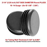 (Pack of 100) 2-1/4'' Round PLUGS (10-14 Ga 1.99'' to 2.08'' ID)    2.25 Inch OD Black Plastic End Caps   Office and Patio furniture finishing caps   Fitness Eqpt End Caps   Fencing Post Inserts   by SB