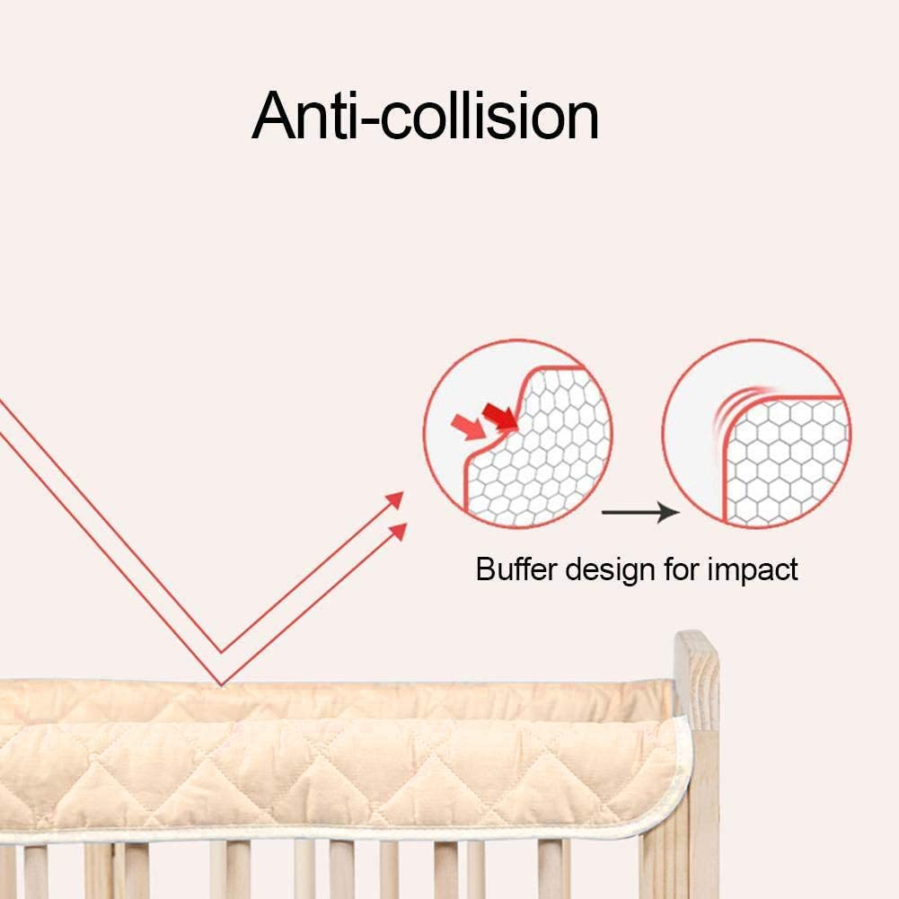 Padded Baby Crib Rail Cover Protector Set Blue, 1 pcs Crib Bumper 100cm Baby Cot Bumper Wrap Around Protection Safe Teething Guard Wrap Baby Proofing Edge and Corner Guard