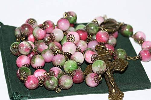 Large Candy Jade and Bronze 10mm 5 Decade Natural Stone Bead Rosary Made in Oklahoma