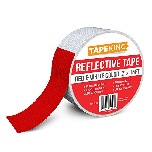 Tape King Reflective Tape, Red and White Safety, 2 Inch x 15 Feet Single Roll